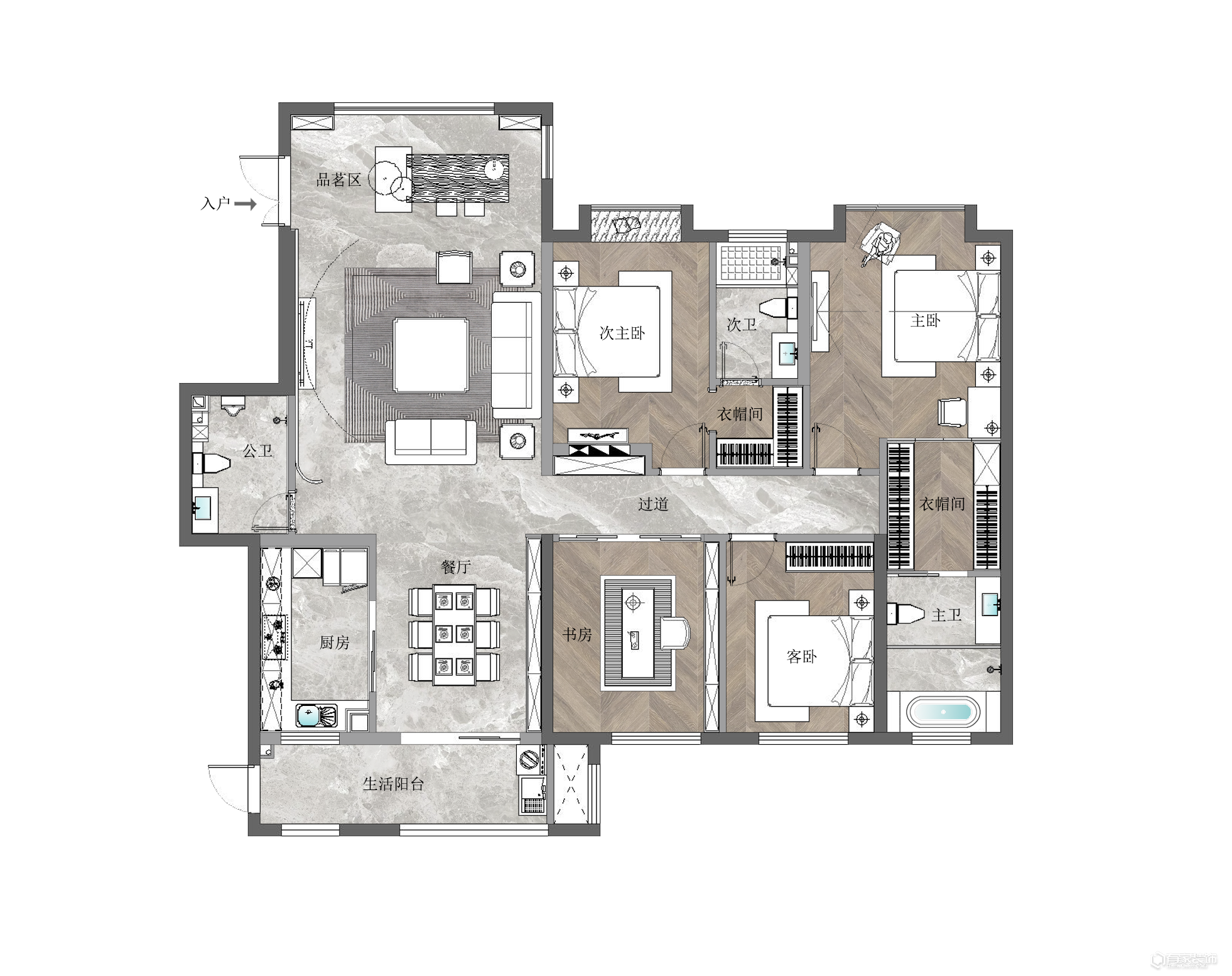 有家裝飾林燕少案例分享:金茂府業主的家庭設計