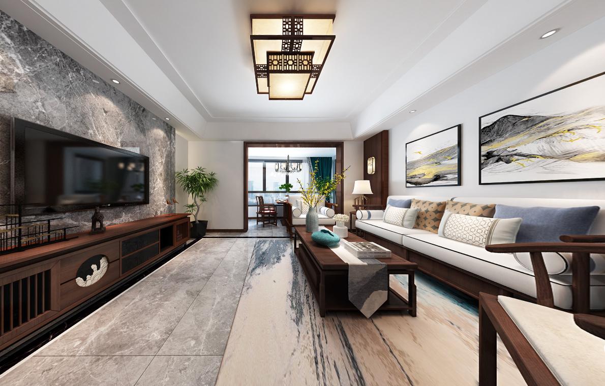 龙湖天宸原著175平复式楼传统中式装修效果图