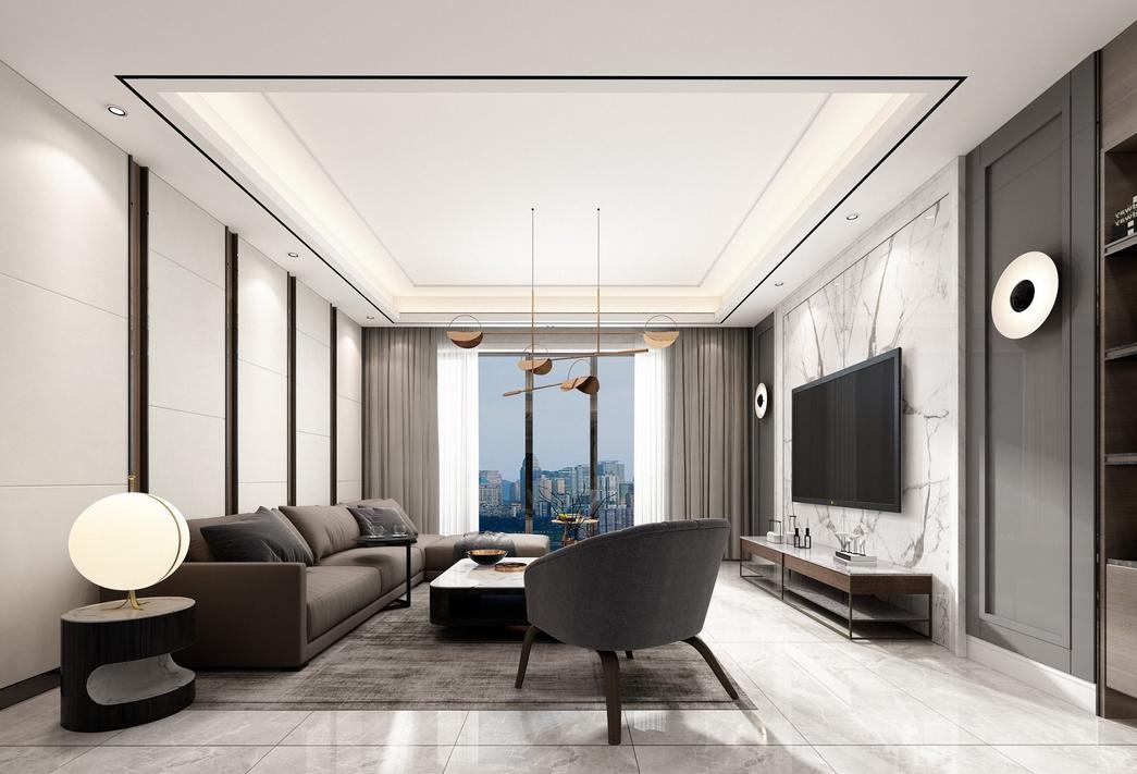 伟业龙湖上城120平平层现代风格装修效果图