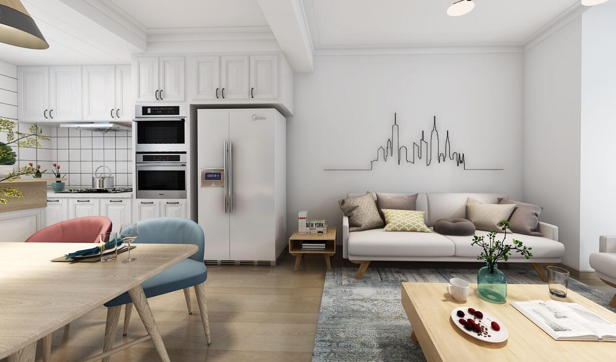 国龙绿城怡园106平三居室北欧风格装修效果图
