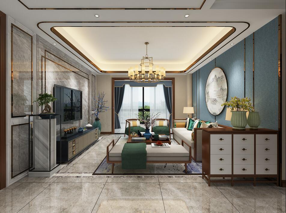 正弘翎128平多居室新中式風格裝修效果圖