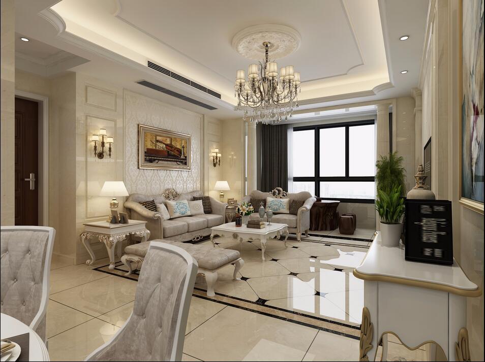 海马公园120平多居室欧式风格装修效果图