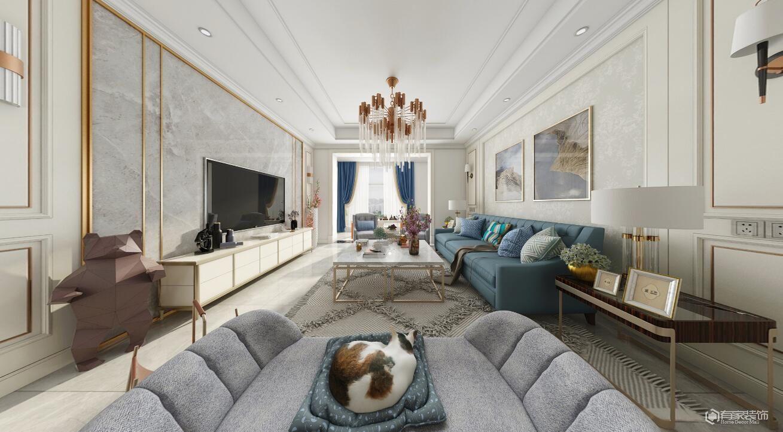 華僑城2號院115平三居室美式風格裝修效果圖