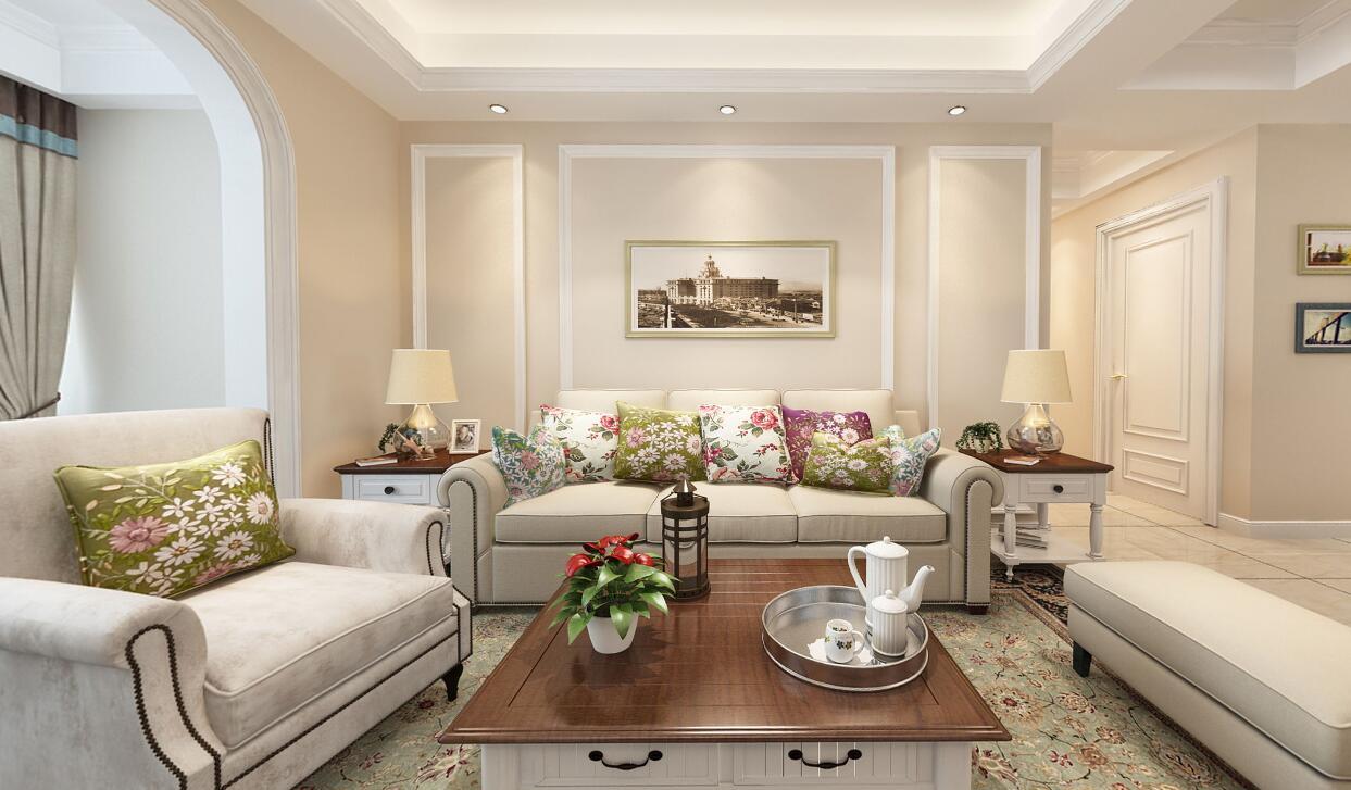 藍城誠園120平平層美式風格裝修效果圖