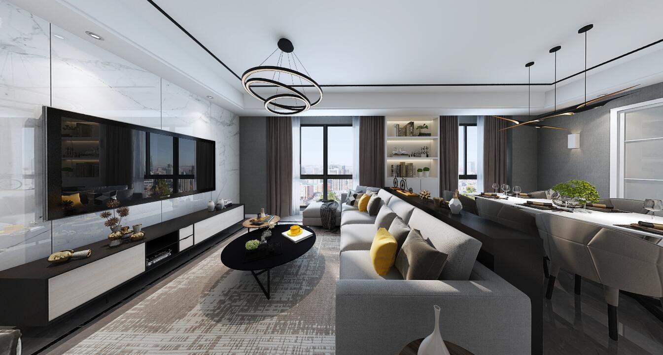 蓝城诚园120平三居室轻奢风格装修效果图