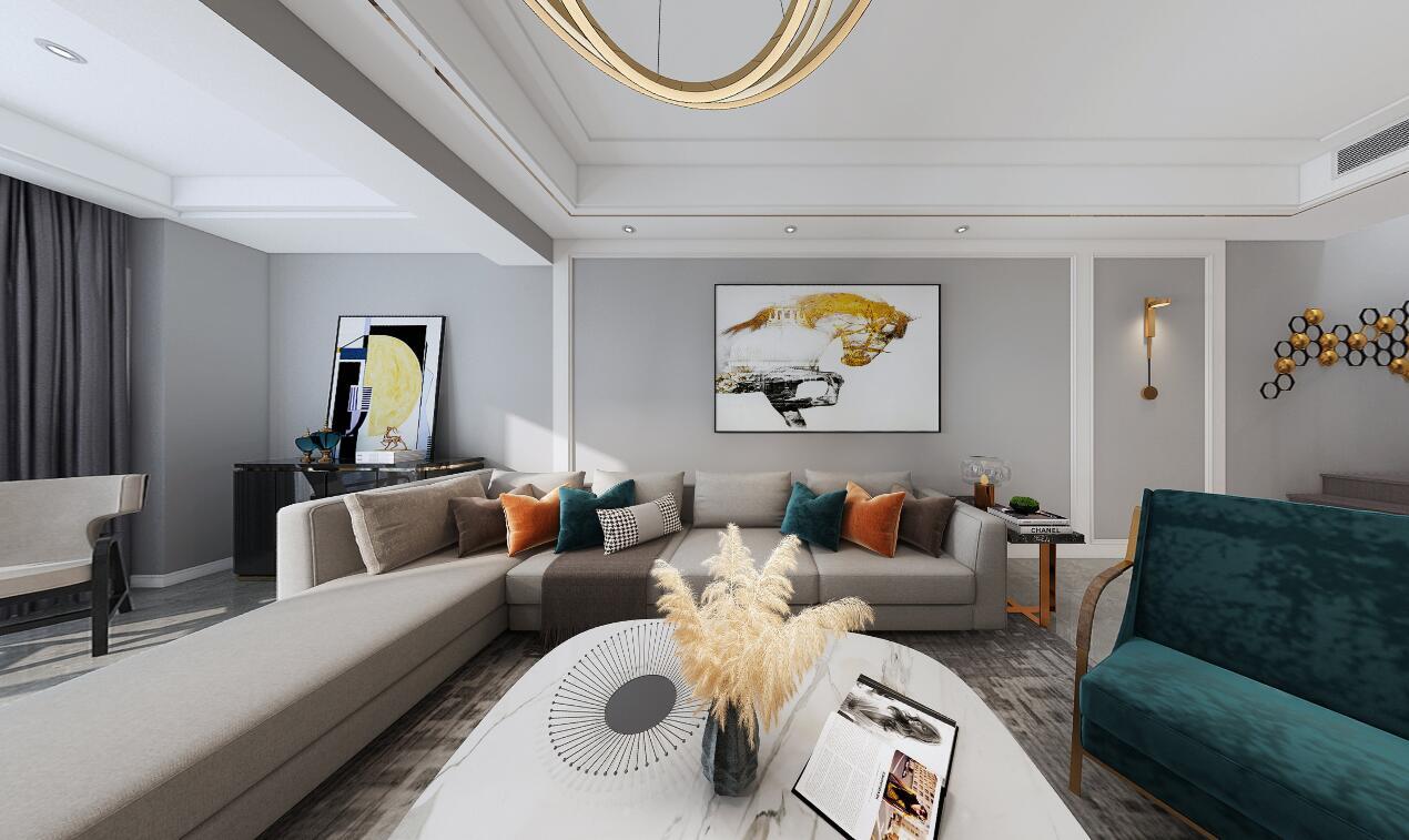 蓝城诚园155平复式楼轻奢风格装修效果图