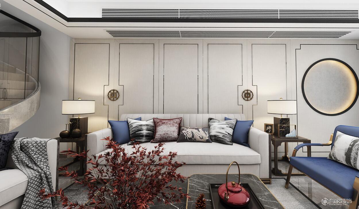 华侨城1号院230平多居室新中式风格装修效果图