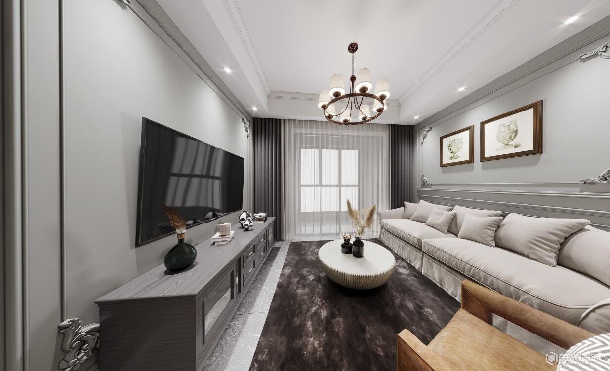 绿都澜湾五期樾园70平两居室美式风格装修效果图
