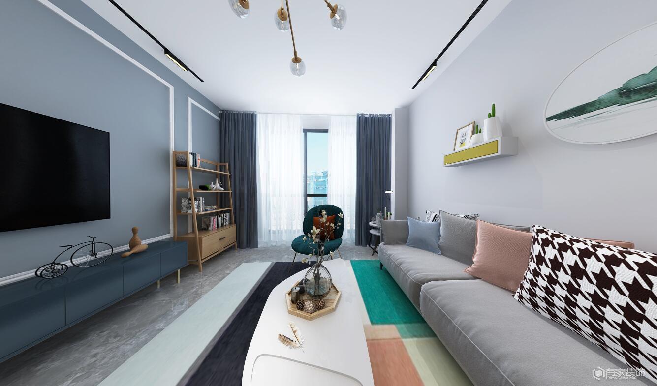 融创华夏观澜一号106平多居室北欧风格装修效果图