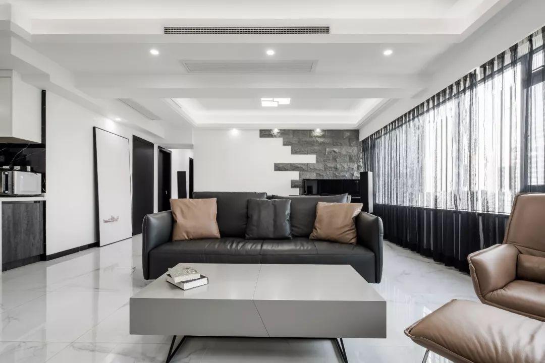 前錦新城現代簡約三居,高級黑白灰締造品質生活