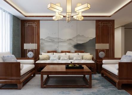 萬科金域時代三室二廳的戶型 客戶偏愛新中式風格